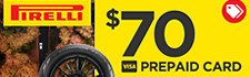 $70 Pirelli Rebate (select Scorpion tires)