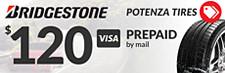 $120 Bridgestone Potenza Rebate (select tires)