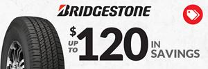 $70 Online Only Instant Savings on Bridgestone
