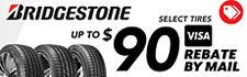 Up to $90 Bridgestone Rebate on select tires
