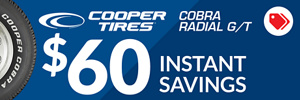 $60 Online Only Instant Savings on Cooper Cobra Radial GT