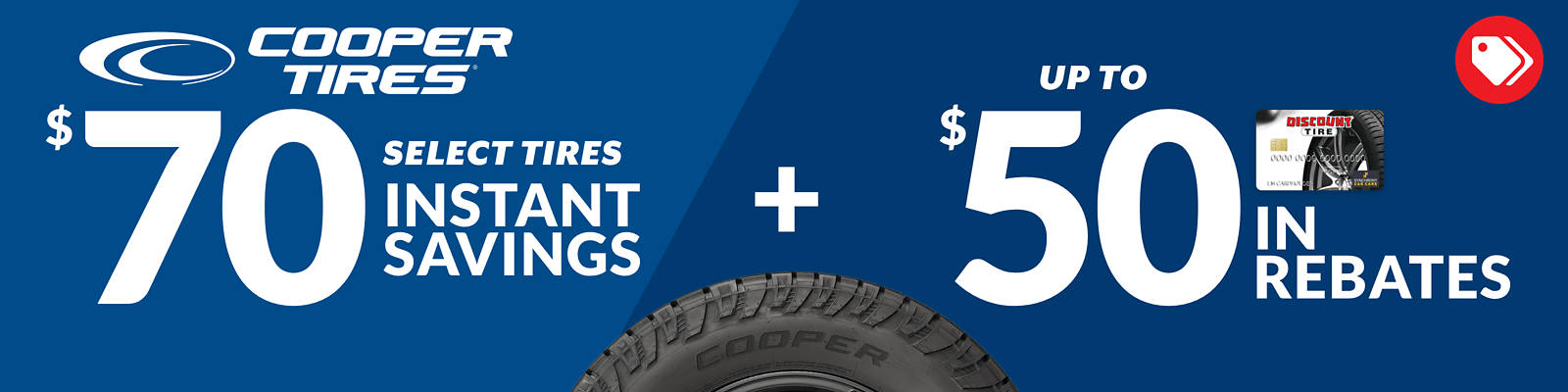 Discount Tire $70 Instant Savings on Cooper Discoverer ATP, ATPII, HTP, HTPII