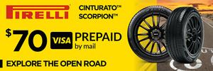 $70 Pirelli Rebate (Cinturato and Scorpion families)