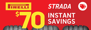 $70 Online Only Instant Savings on Pirelli Strada