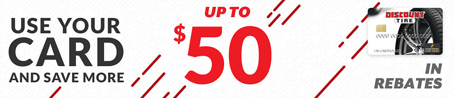 Up to $50 Discount Tire credit card purchase rebate